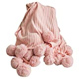 AliceHome wunderschöne gemütliche Strickdecke mit großem Pompom, rose, 150cm*200cm