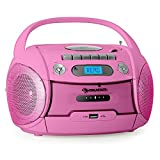 auna Boomgirl Ghettoblaster Kassettenplayer (CD-Player, UKW-Radio, MP3-fähiger USB-Port, Netz-/Batteriebetrieb, transportabel) pink
