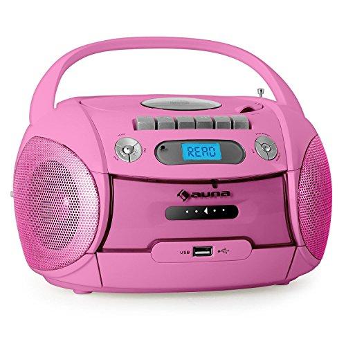 auna Boomgirl Ghettoblaster Kassettenplayer (CD-Player, UKW-Radio, MP3-fähiger USB-Port, Netz-/Batteriebetrieb, transportabel) pink