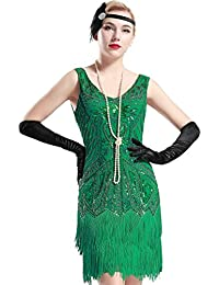 BABEYOND Damen Kleid Retro 1920er Stil Flapper Kleider mit zwei Schichten Troddel V Ausschnitt Great Gatsby Motto Party Kleider Damen Kostüm Kleid