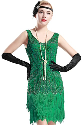 BABEYOND Damen Retro 1920er Stil Flapper Kleider mit Zwei Schichten Troddel V Ausschnitt Great Gatsby Motto Party Kostüm Kleider- Gr. XL (Fits 86-96 cm Waist & 104-114 cm Hips), Grün