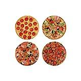 LIBLAR-LINE 4er Set Pizza Magnet Kühlschrank Magnetset Rund Pizzamotiv Deko Magnet Set Ø 5cm