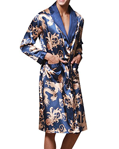Herren Satin Schlafanzüge Charmeuse Morgenmantel Homewear Bademäntel Robe Gürtel Multicolor Muster Saphir Blau L (Satin-robe Charmeuse)