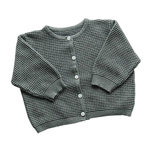 Unisex Baby Jungen Mädchen Strick Wolljacke Pullover Button-Down Pullover Strickjack Grau 66 - Button-down-pullover-strickjacke