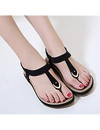 yalanshop Chaussures de plage femmes pantoufles plage 2018 été nouveau port plat anti-dérapant clip pieds bohème mot sandales