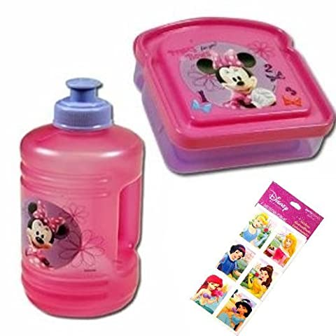 Minnie Mouse Water Bottle (16 oz), Minnie Mouse Sandwich Keeper, and Disney Princess Stickers Set (4 sheets 3x6) - 3 Item Minnie Mouse Boutique Gift Set - All Are BPA Free and Non-toxic - Stickers feature Ariel, Snow White, Belle, Jasmine, Cinderella and Little Mermaid by UltimateGifts