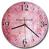 Homeyourself LAUTLOSE Runde Wanduhr Vintage rosa Altrosa Blume Alt aus Metall Alu-Verbund lautlos Uhrwerk rund modern Dekoschild Bild 30 x 30cm
