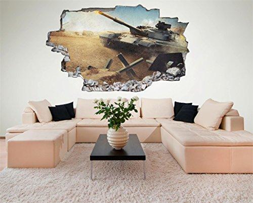 Panzer Kampf Krieg Militär 3D Look Wandtattoo 70 x 115 cm Wand Durchbruch Wandbild Sticker Aufkleber DesFoli © C200 (Krieg Haus)