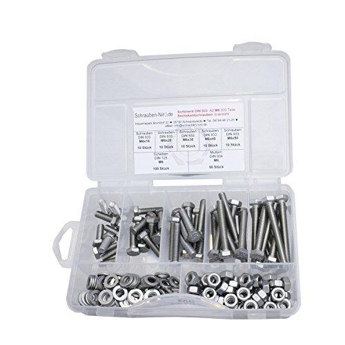 Sortiment Edelstahl V2A Schrauben DIN 933, Muttern sechskant DIN 934 und Scheiben DIN 125, Sechskantschrauben mit Gewinde bis Kopf M6 alles in A2, VA bzw. Nirosta, 200 Teile