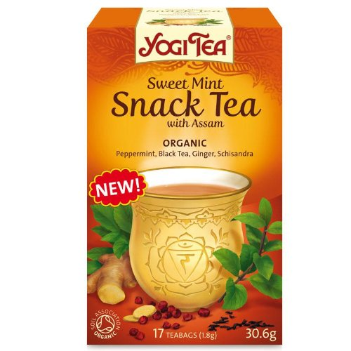 Yogi Tea Organic Sweet Mint Snack Tea with Assam (Pack of 6, Total 102 Teabags)
