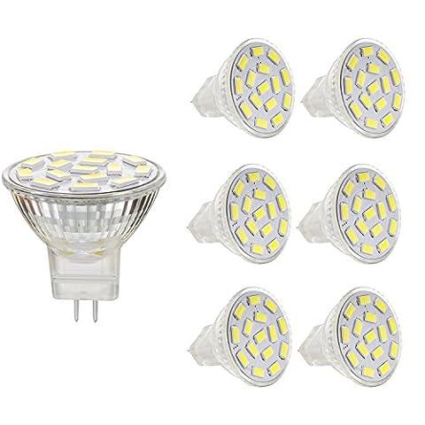 Bogao MR11 GU4.0 2.6W Ampoules à LED, équivalent à lampes halogènes 20-25W, GU4.0 Base AC / DC 12V, 240 LM, 120 ° Flood Beam, Blanc (6000K), Éclairage encastré, Track Lighting, Pack de 6