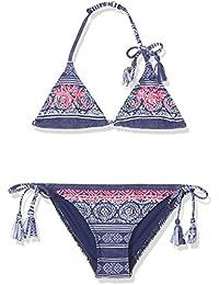 Roxy niñas 'Pop neón Tri se Bikini, niña, Bikini, Pop Neon Tri Se, Blue Depths Olmeque Stripe, talla 12