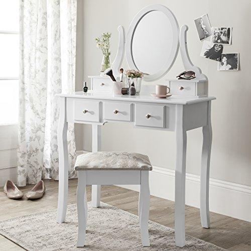 Royal Dressing Tables Versailles - Tavolo da toeletta con specchio e sgabello, colore bianco Vanity