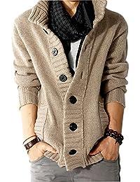 Minetom Hombres Otoño Invierno Tejer Suéter Slim Fit Sweatshirt Casual Cárdigan Outerwear