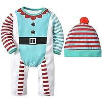 Hawkimin Weihnachten Baby Jungen Mädchen Streifen Drucken Strampler Overall + Hut Set