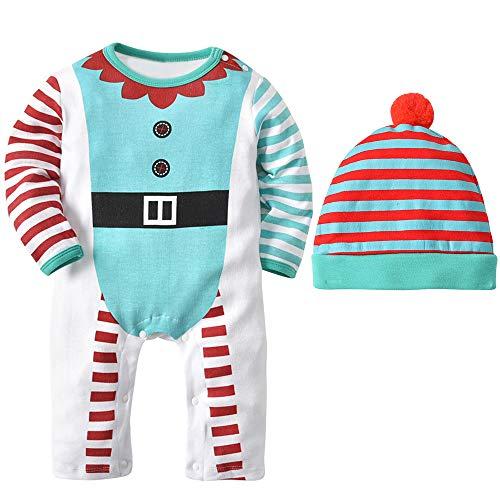 Zarupeng 2PCS Baby Body Jungen Mädchen Gestreiften Langarm Strampler Overall + Hut Set Weihnachten Zweiteilige Anzug
