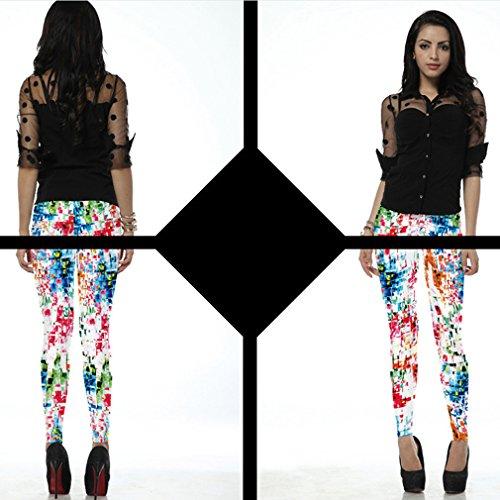 Belsen Femme Deadpool série Leggings élasticité crayon Pantalon Multicolore