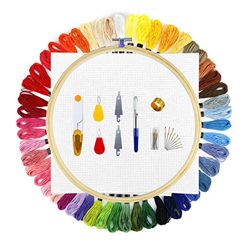 60 Stück Stickerei Tool set, Wanxida Starter Kit Stickerei mit 50 Stickgarn Multifarbe 26 cm Wood Stickerei Hoop 1 Gesticktes Tuch und Andere Stickzubehör