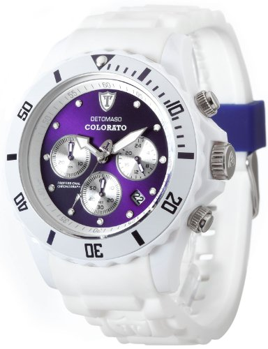 Detomaso Colorato Unisex Quartz Watch with Purple Dial Analogue Display and White Silicone Strap DT2019-F