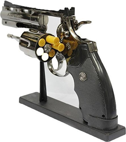MT Antique Red Flame Metal Body Heavyweight Refillable Revolver/Gun Shape Cigarette Gas Lighter with Stand and Bullet