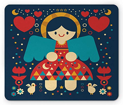 Angel Mouse Pad, Kids Cartoon Lovely Angel with Colorful Dress and Wings Surrounded by Hearts Flowers, Standard Size Rectangle Non-Slip Rubber Mousepad, Multicolor