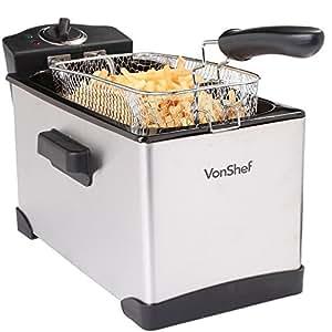 VonShef 3.5L Oil Capacity Deep Fryer - Stainless Steel Large 1.2KG Food Capacity & Easy Clean - Free 2 Year Warranty