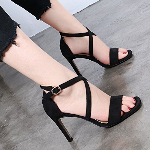 Summer Fashion Square Des Chaussures Avec Des Sangles Avec Amende Identique. Black