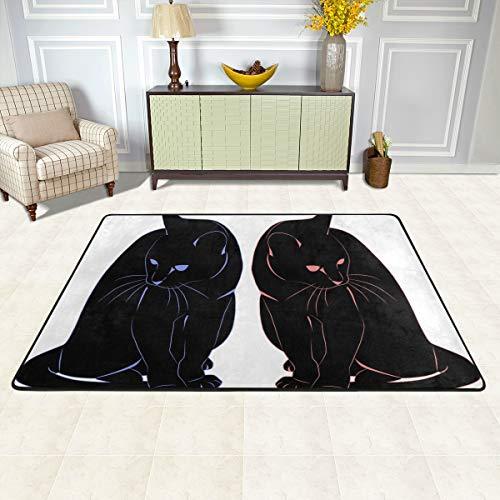 ISAOA Fußmatte mit Katzen-Motiv, 91,4 x 61 cm, Blau/Rot