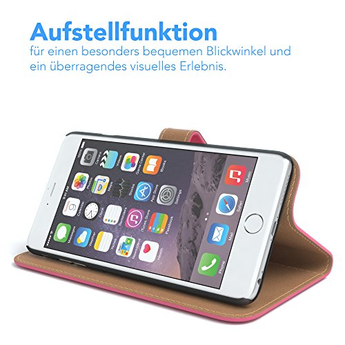 Apple iPhone 6S Plus / 6 Plus Tasche, EAZY CASE Book-Style Case Jeans, Premium Handyhülle mit Kartenfach, Schutzhülle Geldbeutel mit Standfunktion, Wallet Case in Hellgrau Pink - Uni