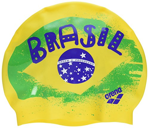 Arena Silicona Print 2 Gorro de Natación, Hombre, Multicolor (Flag / Brasil), UNI