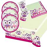 Amscan 37-Teiliges Eulen Party Set für 8 Kinder Geburtstag Tisch Deko Mädchen Pink Lila Teller Servietten Becher Tischdecke