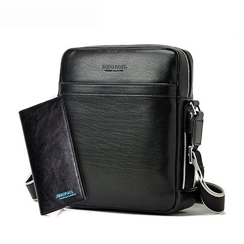VIISHOW 2017 Sacchetto del messaggero del flapover del sacchetto di spalla del sacchetto di spalla del sacchetto del corpo della borsa del Mens di modo adatta ad iPad, iPad Mini con il raccoglitore Nero