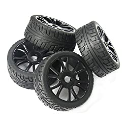 powerday 4pcs 17mm Hub Wheel Rim & Tires Tyre for 1/8 Off-Road RC Car Buggy HSP