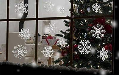 heekpek Weihnachts Dekoration Glitzernde Silberpulver Schneeflocken 56 Stück Trockene Wand Glas Spiegel Fenster - Weihnachts Fenster Dekoration