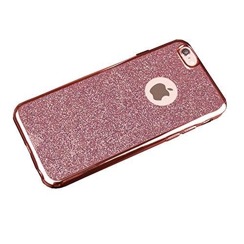 Jinberry Glitzer Schutzhülle für iPhone 7 (4.7 Zoll) / Ultra Dünne Weich TPU Case Handyhülle / Silikon Slim Tasche Back Cover Hülle für Apple iPhone 7 - Gold Rose Gold