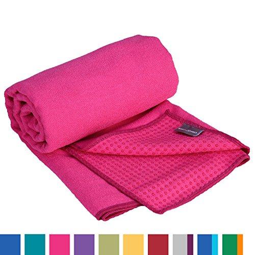 GRIP2 Yoga Towel, Yogahandtuch mit Antirutsch-Noppen, rutschfest, Yoga-Handtuch, sehr gut für Hot Yoga (himbeer-pink), Yogamattenauflage Hot Pink Matte