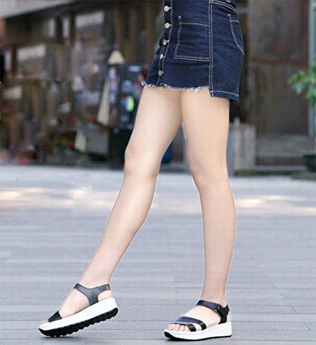 Sandales d'été avec pente femme secoua sa chaussure était mince sandales femmes sandales occasionnels a augmenté femmes chaussures tête de poisson Black