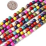 Sweet & Happy Girl'S Store 6mm Edelstein Mixed-Farbe gefärbt Howlith Perlen Strang 15 Zoll Schmuckherstellung Perlen