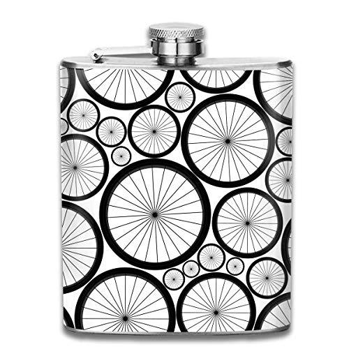 Fahrrad Räder Muster Premium 304 Edelstahl Flachmann benutzerdefinierte Flasche großes Geschenk, 7 Oz
