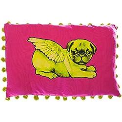 Pugs puede volar verde Biddy CARLINO de cojín con pompones rectangular, color rosa