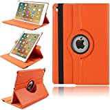 9,7'' iPad Air 2 Case, TechCode® Magnetically Detachable Muti Angle Folio 360 Degree Rotating Stand Cover Smart Cover for iPad air 2 9.7inch (iPad air 2, Orange)