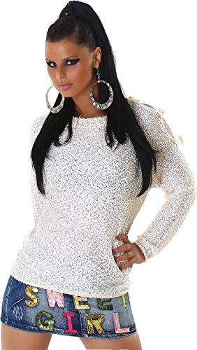Jela London Pullover a maglia paillettes maglione delle donne girocollo manica lunga cappio intorno al collo 38,40,42. Beige