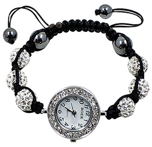 Shamballa braccialetto bling da bodytrend–iced palline con cristalli swarovski e alla moda elegante orologio–fits lovely su qualsiasi polso, ideale per un regalo, regolabile per 7