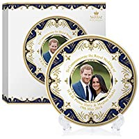 Royal Heritage H.r.h Harry y Megan Markle Placa Conmemorativa de la Boda, Porcelana, Multicolor, 11 x 11 x 2 cm