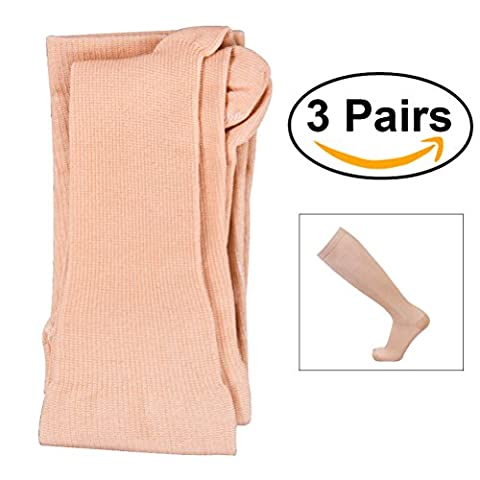 Tinksky Femmes Hommes Chaussettes à compression Knee High Stocking Nylon Sports Athletic Running Chaussettes pour l'exercice 3 paires - Taille L / XL (Skin-color)