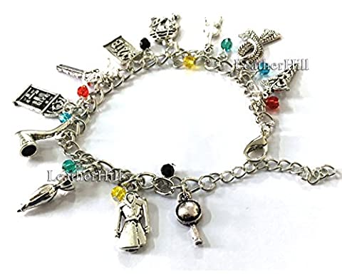 11 Themed charms Sherlock Holmes Charm Bracelet - Charms pipe weed, microscope, coat, guitar, scarf, business card (Silver)