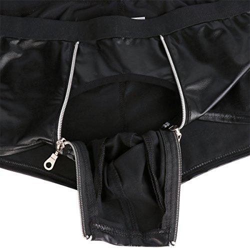 YiZYiF Herren Boxer Boxershort Unterhose Lack-optik Ledershort Pants Hose Trunk mit Zipper Bulge Beutel Gr. M L XL XXL Schwarz XX-Large - 7