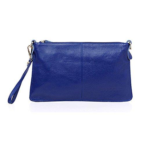 H&W Donna Moda Pelle Vera Clutch Borsa Con Polso e Spallina Azzurro Blu