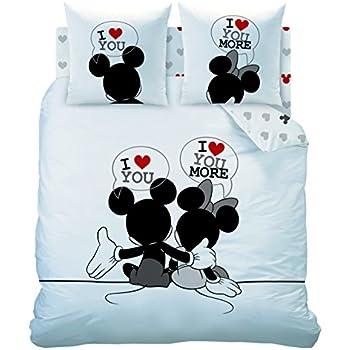 CTI 041859 Housse de Couette 240x220 + 2 Taies d'Oreiller 63x63 Disney Mickey Mouse M&M The End Coton Blanc/Noir 31,5 x 21 x 5 cm