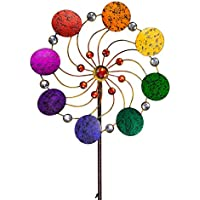 IMC Networks CIM Exotic Flower Rainbow - Molinillo de Viento (Metal, 34 cm de diámetro, 122 cm de Altura, Incluye Barra de 3 Piezas, Giro Suave)